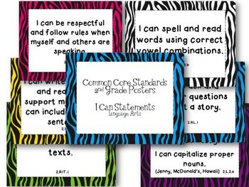 Second Grade Common Core ELA Standards Posters-Zebra Print