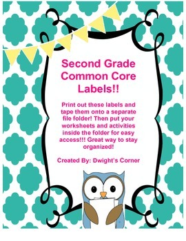 Common Core Labels Second Grade