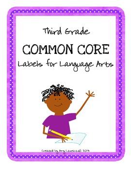Common Core Labels for ELA - Third Grade