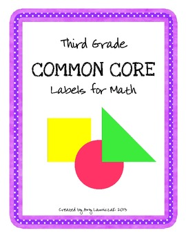Common Core Labels for Math - Third Grade