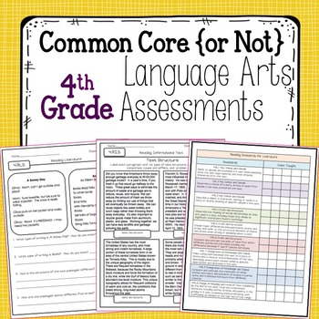 Fourth Grade Language Arts Assessments for Common Core Standards