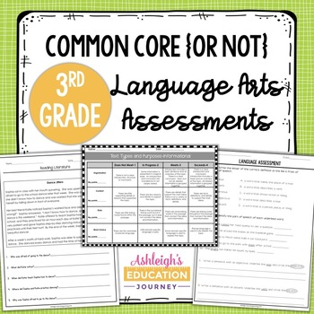 Third Grade Language Arts Assessments   Print or Distance Learning