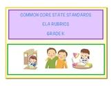 Common Core Language Arts - ELA Kindergarten Rubrics