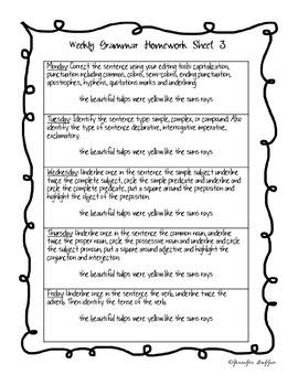 Common Core: Language Arts: First Six Weeks of Grammar Homework