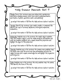 Common Core: Language Arts: Fourth Six Weeks of Grammar Homework