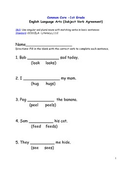 Common Core Language Arts Gr. 1 (subject-verb agreement) CCSS.ELA. L.1.1C