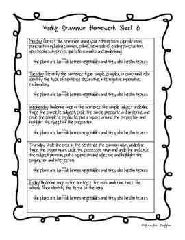 Common Core: Language Arts: Second Six Weeks of Grammar Homework