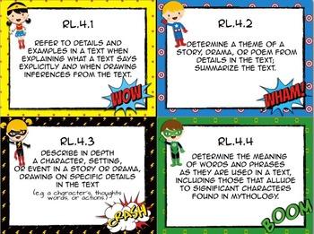 Common Core Language Arts Standards Cards - Superhero Theme
