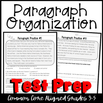 Common Core Language Arts Test Prep- Paragraph Organization