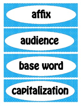 3rd Grade Common Core Language Arts Vocabulary Word Wall Cards