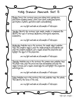 Common Core: Language Arts: Week 13 Grammar Homework