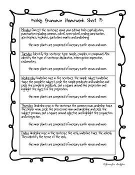 Common Core: Language Arts: Week 15 Grammar Homework