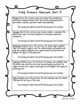 Common Core: Language Arts: Week 21 Grammar Homework