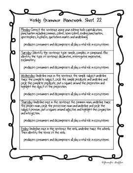 Common Core: Language Arts: Week 22 Grammar Homework