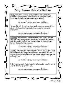 Common Core: Language Arts: Week 23 Grammar Sheet