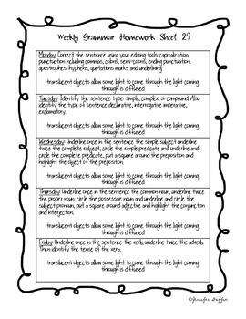 Common Core: Language Arts: Week 29 Grammar Homework