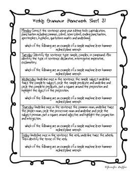 Common Core: Language Arts: Week 31 Grammar Homework