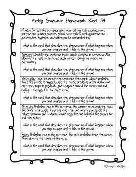 Common Core: Language Arts: Week 34 Grammar Homework
