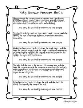 Common Core: Language Arts: Week 6 Grammar Homework