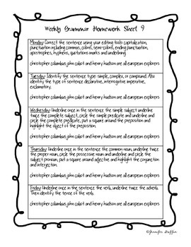 Common Core: Language Arts: Week 9 Grammar Homework