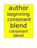 Common Core Language Arts Word Cards