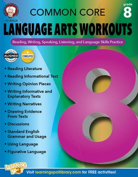 Common Core Language Arts Workouts Grade 8 SALE 20% OFF! 404228