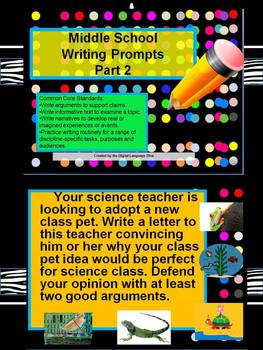 Common Core Language Arts Writing Prompts Part 2