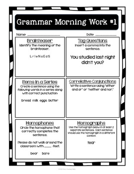 Grammar Morning Work *upper elementary*