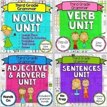 Parts of Speech Bundle - Nouns, Verbs, Adjectives, Adverbs