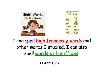 Common Core Language Kid Friendly Standards 3rd Grade