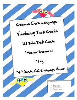 Common Core Language Vocab Task Cards Grade 4
