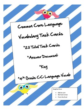 Common Core Language Vocab Task Cards Grade 4