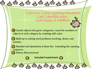 Common  Core Learning Standard:  Pennies, Dimes & Addition