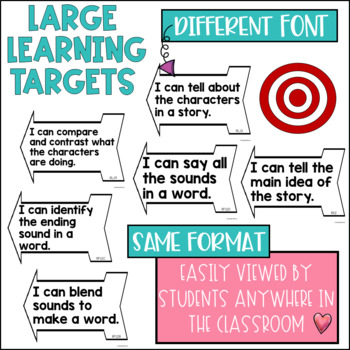 Common Core Learning Target and Success Criteria BUNDLE for Reading 1st grade