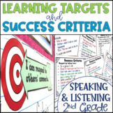 Common Core Learning Target and Success Criteria BUNDLE Speak & Listen 2nd grade
