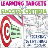 Common Core Learning Target and Success Criteria BUNDLE Speak & Listen 3rd grade