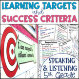 Common Core Learning Target and Success Criteria BUNDLE Speak & Listen 5th grade