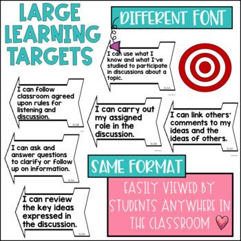 Common Core Learning Target and Success Criteria BUNDLE Speak & Listen 5th grade