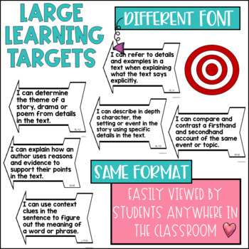 Common Core Learning Target and Success Criteria BUNDLE for Reading 4th grade