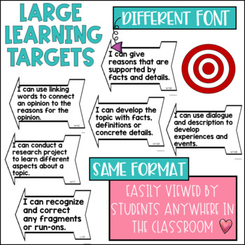 Common Core Learning Target and Success Criteria BUNDLE for Writing 4th Grade