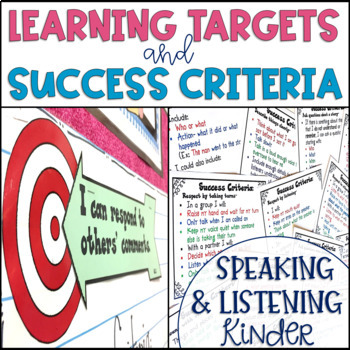 Common Core Learning Target and Success Criteria BUNDLE Speak & Listen Kinder