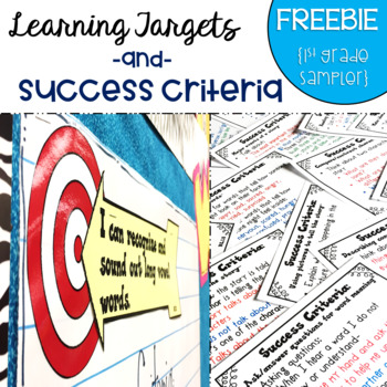 Common Core Learning Target and Success Criteria FREEBIE Sampler 1st grade