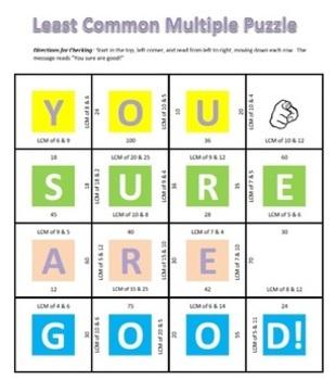 Common Core - Least Common Multiple Puzzle - LCM Math Fun!