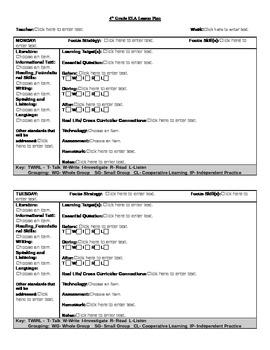 Common Core Lesson Plan 4th Grade ELA