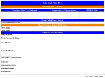 Common Core Lesson Plan Template ELA Grade 7 with Drop Down Menus