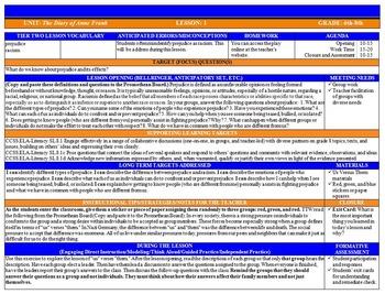 Common Core Lesson Plan ELA Grades 6-8 with Drop Down Menus BUNDLE