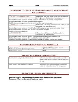 Danielson Framework with Common Core Standards Lesson Plan Maker:Language Arts