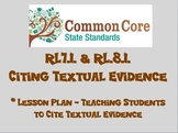 Common Core Lesson Plan RL.8.1. - Citing Textual Evidence