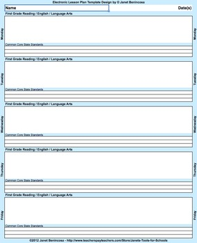 Common Core Lesson Plan Template 5th-Math with 3 drop-downs/day for standards