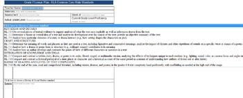 Common Core Lesson Plan ELA Grade 7 w/Standards in Drop Down Menus
